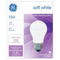 Soft White Light Bulbs, 15-Watts, 2-Pk.