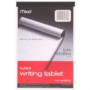 Writing Tablet, Ruled, White, 6 x 9-In., 100-Sheets