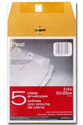 Image of Clasp Envelopes, 6.5 x 9.5-In., 5-Ct.