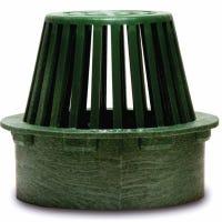 Flat Top Atrium Grate, Green Polyolefin, 3-In.
