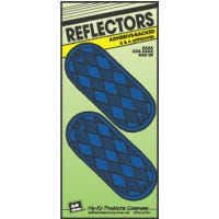 Reflectors, Adhesive, Blue Oval, 4-3/8-In., 2-Pk.