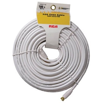 "Image of 100-Ft. White RG6 Coax Cable With ""F"" Connectors"
