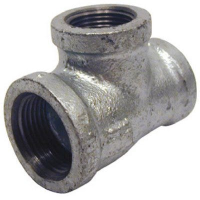 Galvanized Metal Pipe Fitting, Reducing Tee, 1 x 3/4 x 3/4-In.