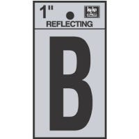 """Address Letters, """"B"""", Reflective Black/Silver Vinyl, Adhesive, 1-In."""