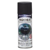 Premium Decor High-Heat Spray Paint, Flat Black, 12-oz.