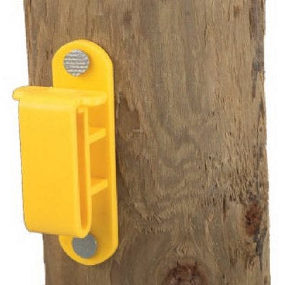Electric Fence Insulator, Wood Post Tape, Yellow, With Nails, 25-Pk.