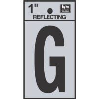 """Address Letters, """"G"""", Reflective Black/Silver Vinyl, Adhesive, 1-In."""