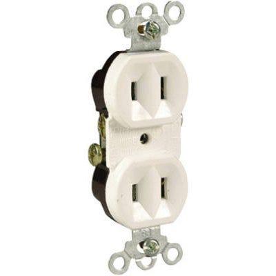 Duplex Outlet, 2-Pole, 2-Wire Ground, White, 15-Amp, 125-Volt