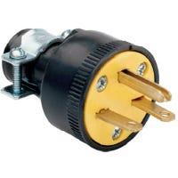 Rubber Construction Plug, Black, 2-Pole/3-Wire, 15A, 125-Volt