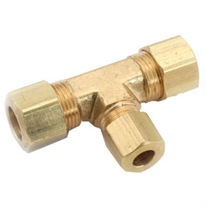 Image of Compression Fitting, Tee, Lead-Free Brass, 3/8 x 3/8 x 1/4-In.