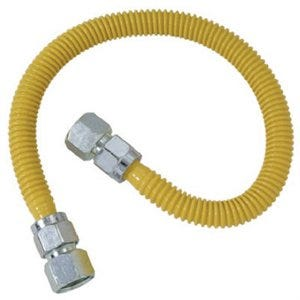 Gas Connector With Fittings, Pro-Coat Stainless-Steel, 60-In.
