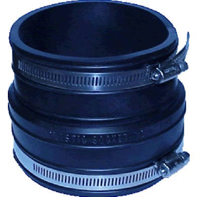 Pipe Fitting, Clay Pipe Reducing Flexible Coupling, 4 x 3-In.