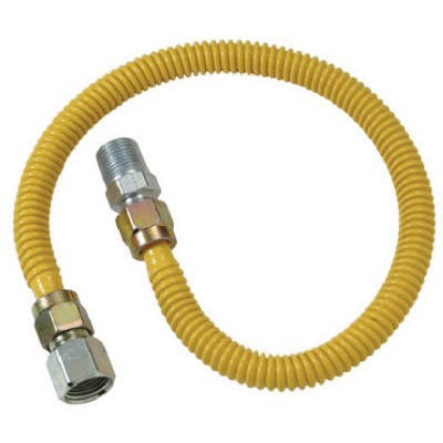 Gas Connector with Fitting, 1/2 x 1/2 Female x 18-In.