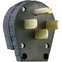 Angle Plug for Dryers, Commercial Grade, 3-Pole, 30 or 50-Amp Configurable