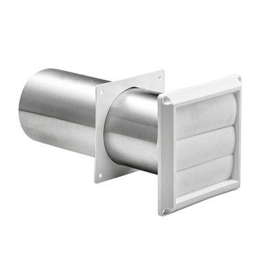 Louvered Dryer Vent, Through the Wall Plastic Pipe, 4-in .