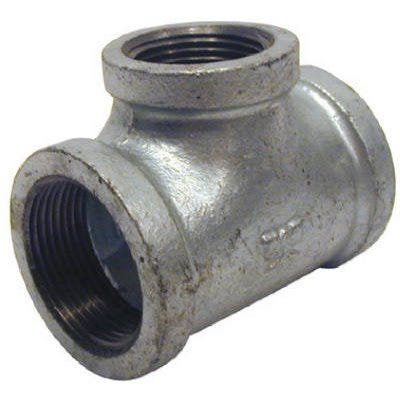 Galvanized Metal Pipe Fitting, Reducing Tee, 3/4 x 1/2 x 1/2-In.