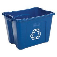 Recycling Box, Blue with White Recycle Imprint, 14-Gal.