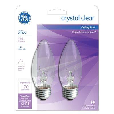Ceiling Fan Light Bulbs, Clear Torpedo, 25-Watts, 2-Pk.