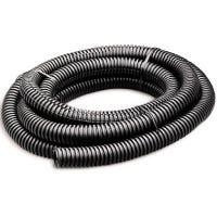 Split Flexible Tubing, Black, Corrugated, 0.5-In. x 7-Ft.