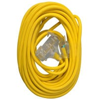 3-Outlet Extension Cord, 12/3 SJTW, Yellow, 50-Ft.