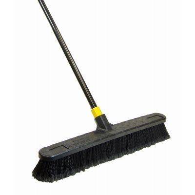 Bulldozer Push Broom, Soft Sweep, Polypropylene Fibers, Black Handle, 24-In.