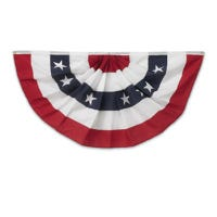 U.S. Fan Flag Bunting, Pleated Polycotton, 3 x 6-Ft.