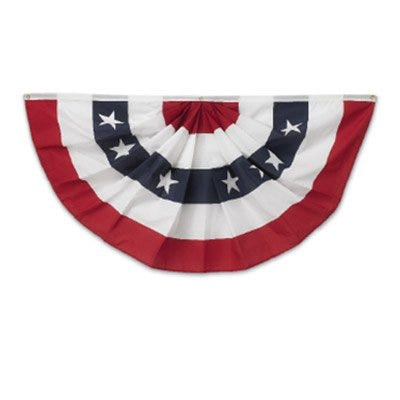 U.S. Fan Flag Bunting, Pleated Polycotton, 3 x 6-Ft.