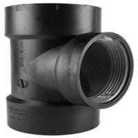 ABS/DWV Test Tee Without Cleanout Plug, Hub x Hub x FIP, 1.5-In.