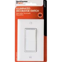 3-Way Premium Decorator Lighted Quiet Switch, White