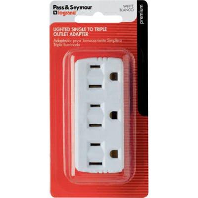 Triple Grounding Adapter, Lighted, White, 15-Amp, 125-Volt