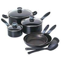 Get-A-Grip 10-Pc.Cookware Set, Black
