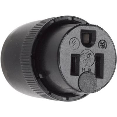 Straight Blade Connector, Black, 2-Pole/3-Wire, 15A, 125-Volt