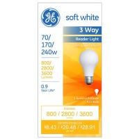 Reader Light Bulb, Soft White, 3-Way, 70/170/240-Watts