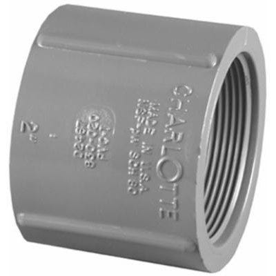 Schedule 80 PVC Coupling, Gray, FPT x FPT, 1/2-In.