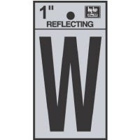 """Address Letters, """"W"""", Reflective Black/Silver Vinyl, Adhesive, 1-In."""