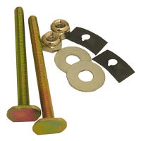 Solid Brass Toilet Bolts With Nuts And Washers, 0.25 x 3.25-In.