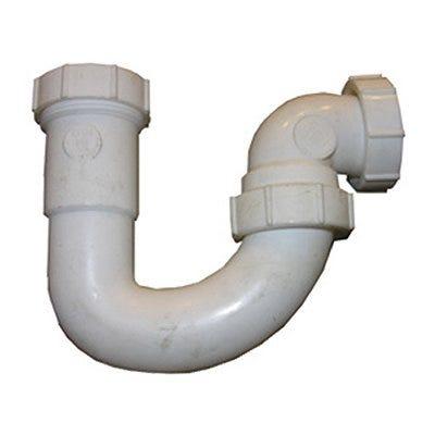 Lavatory/Kitchen Wall Drain Trap J Bend, White PVC, 1.25 - 1.5-In. Tube Outlet