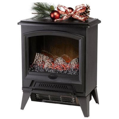 Electric Fireplace Stove, Black, 17.4-In. Width
