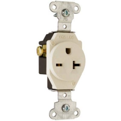Single Outlet, 2-Pole, 3-Wire Ground, Almond, 20-Amp, 250-Volt