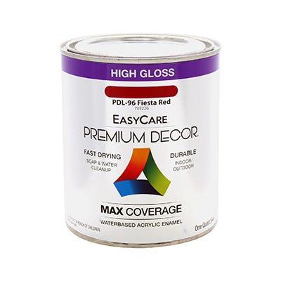 Premium Decor Fiesta Red Gloss Enamel Paint, Qt.