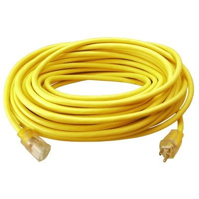 Extension Cord, 12/3, SJTW, Yellow Round Vinyl, Lighted End, 25-Ft.