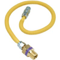 Gas Connector, 1/2 x 3/8 x 3/8 Male/Female/Male x 24-In.