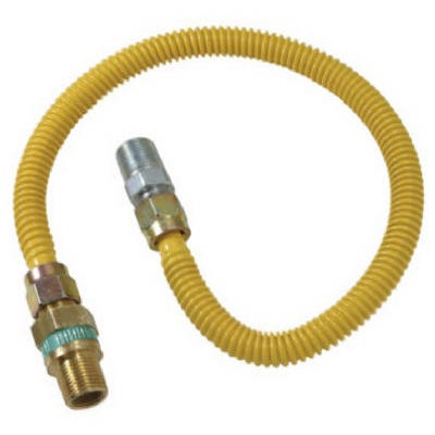 Gas Connector, Coated Stainless Steel, 36-In., 3/8-In. I.D., 1/2-In. O.D.