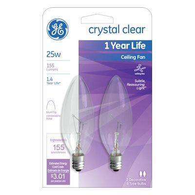 Blunt Tip Ceiling Fan Bulbs, 2-Pk., 25-Watts