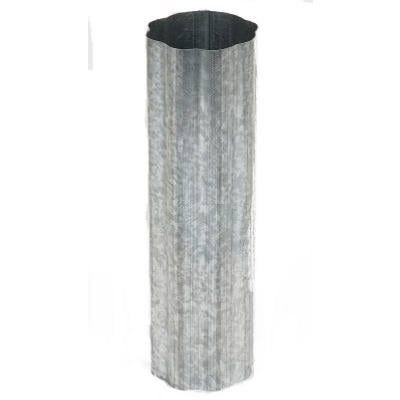 Corrugated Gutter Downspout, Round, Mill Finish Galvanized, 3-In. x 10-Ft.