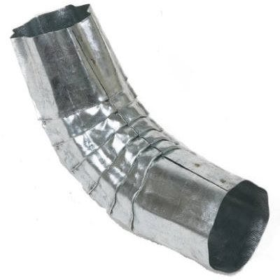 Corrugated Gutter Downspout Elbow, Round, Galvanized Steel, 3-In.