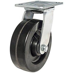 Image of Swivel Plate Caster, Phenolic Wheel, 6-In.