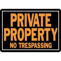 """Private Property No Trespassing"" Sign, Hy-Glo Orange & Black Aluminum, 10 x 14-In."