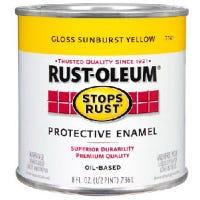 Stops Rust Sunburst Yellow Oil-Based Paint, 1/2-Pint