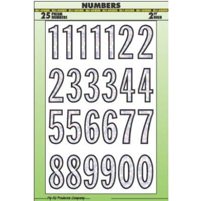 Address Number & Letter Set, Prism Silver Vinyl, Adhesive, 2-In.